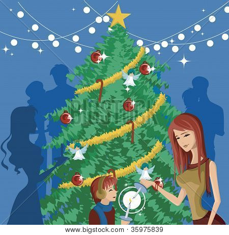 A Mother And Child Lighting Candles In Front Of A Decorated Christmas Tree