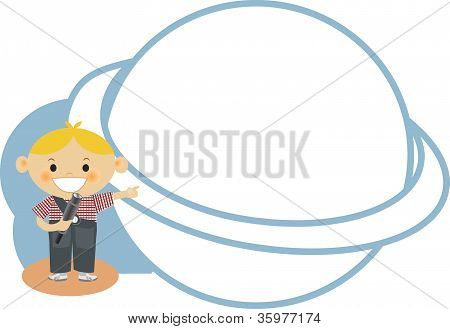 A Boy Pointing To A Planet