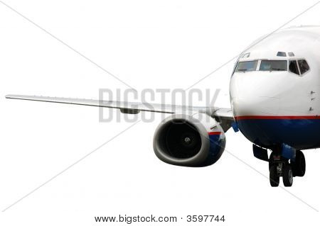 Landing Airplane Isolated On White