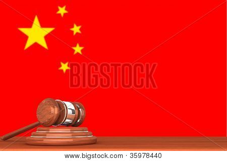 Gavel With Flag Of China