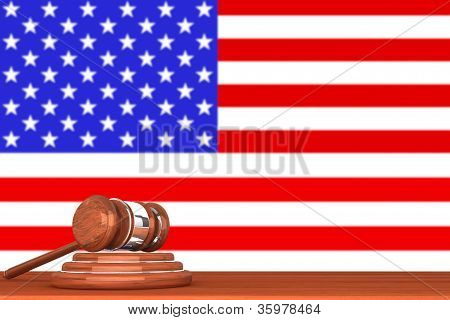 Gavel With Flag Of America