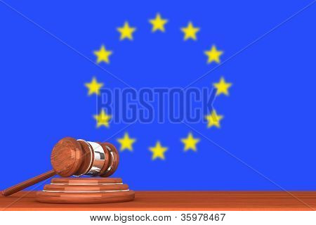 Gavel With Flag Of Europe