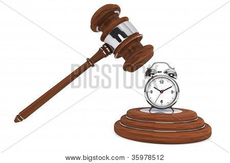 Justice Gavel With Alarm Clock