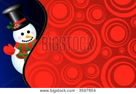Vector Snowman On A Retro Background