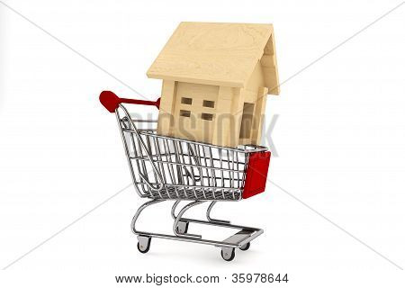 Shopping Cart With Wooden House