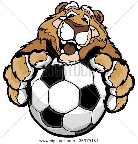 Cute Happy Cougar Or Mountain Lion Mascot With Soccer Ball Vector Illustration
