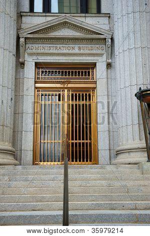 Mormon Neoclassical Building Entrance