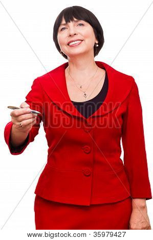 Mature  Business Woman With Pen In Her Hand