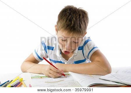 Child Making The Homework