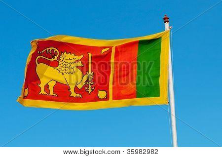 Sri Lanka Flag On Flagstaff.
