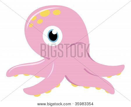 Cute Pink Octopus Isolated On White