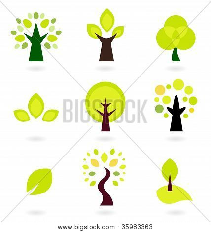 Abstract Trees Vector Set Isolated On White