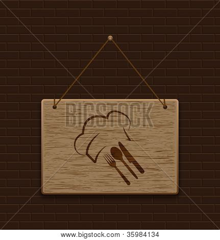 Wooden Signpost Food Logo