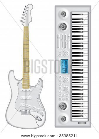 Isolated image of guitar and synthesizer