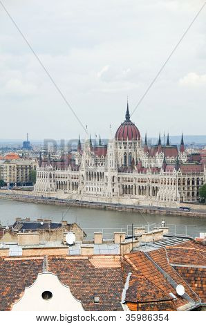 Budapest Hungary Cityscape  Panorama With Parliament Danube River