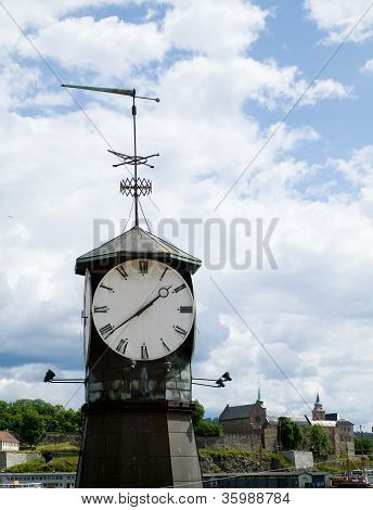 Old Clock In Oslo, Norway