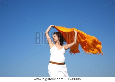 Young Joyful Woman With Scarf