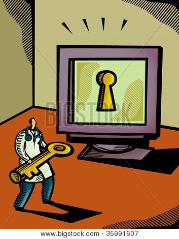 Doctor Holding A Giant Key In Front Of A Computer Screen That Has A Keyhole