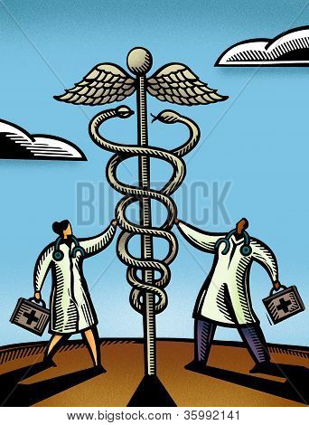 Two Doctors Touching A Giant Caduceus