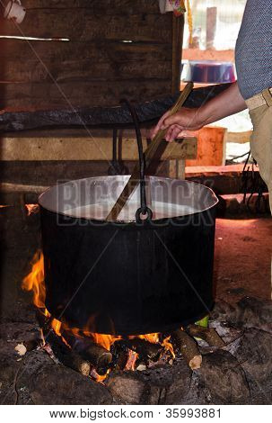 Making Traditional Cheese In Romania