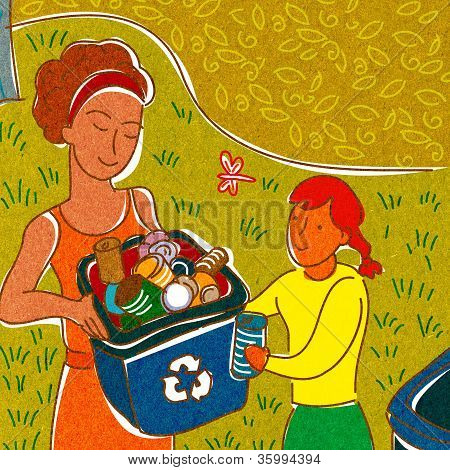 A Girl Helping A Woman Recycle