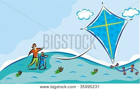 Mother And Child Flying A Kite