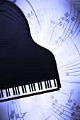 stock photo of grand piano  - the grand piano with musical notes background - JPG