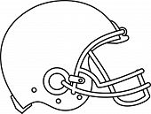 stock photo of headgear  - Line drawing illustration of an american football helmet viewed from the side done in black and white - JPG