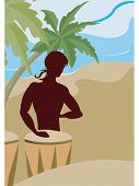picture of bongo  - A silhouette of a man playing the bongo drums on the beach - JPG