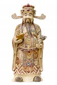 picture of scepter  - Prosperity Money God Holding Gold Bar and Ruyi Scepter Ivory Carving Statue - JPG