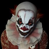 stock photo of circus clown  - Scary clown glaring at you.