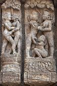 foto of surya  - Detail of erotic carvings decorating the ancient Surya Hindu Temple at Konark Orissa India. 13th Century AD