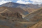 image of manali-leh road  - Arid mountain scenery along the route of the high altitude road between Manali and Leh in Ladakh India