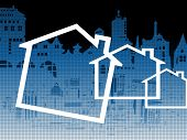 pic of shaky  - Cityscape and housing symbols against a blueprint type background - JPG