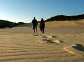 Father And Son Hiking Fraser Island poster