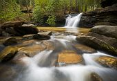 picture of backwoods  - SC Waterfall Landscape Photography Blue Ridge Mountains Relaxing Nature image with peaceful flowing water - JPG