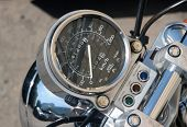 picture of speedo  - A Speedometer from a motorcycle close up - JPG