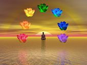 image of kundalini  - Man in meditation surrounded with colorful lotus as chakras on the ocean by sunset - JPG