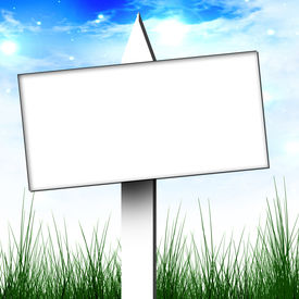 image of yard sale  - white billboard sign on a clear sky background - JPG