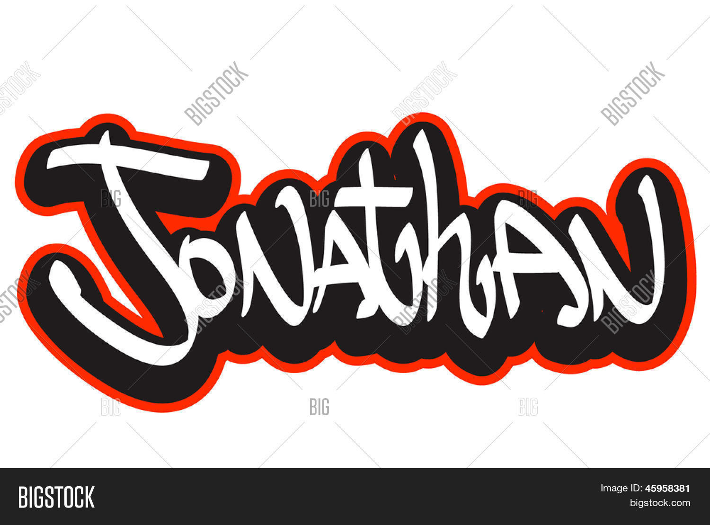 Jonathan Graffiti Font Style Name Vector & Photo | Bigstock