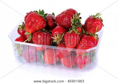 Strawberries in plastic box isolated on white