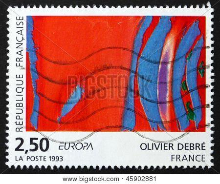 Postage Stamp France 1993 Rouge Rythme Bleu, Olivier Debre