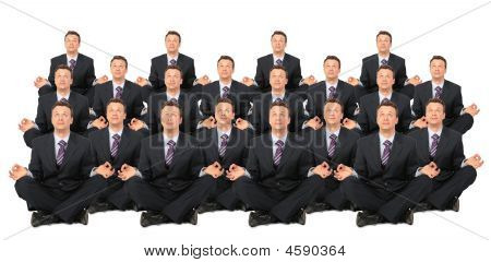 Meditating Businessmen Crowd Collage