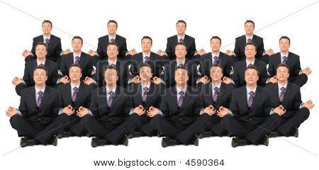 Meditating Businessmen Crowd Collage