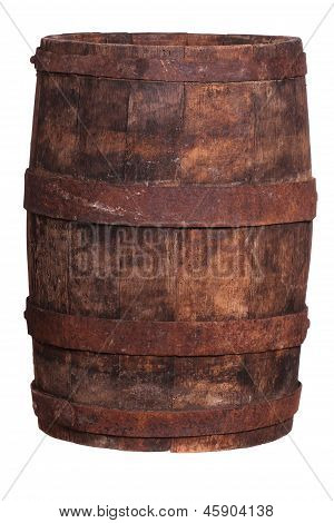 Very Old Wooden Barrel With Iron Fittings