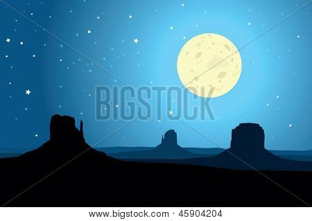 Monument Valley Arizona Agaist un cielo estrellado, Eps10 Vector
