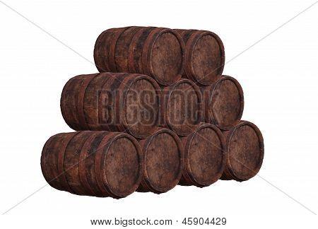 Stack Of Wooden Barrel