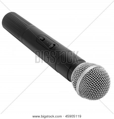 black radio microphone vintage isolated on white background
