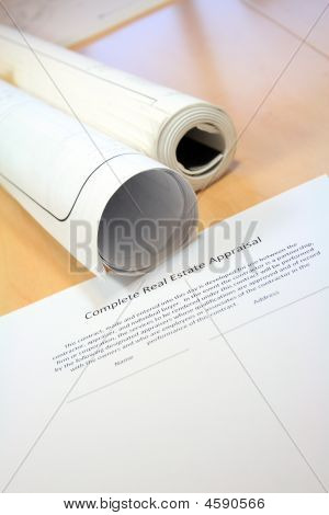 Real Estate Contract And Blueprints