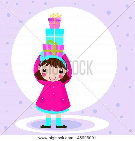 girl and gift box